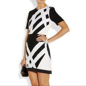 Tibi Geometric-print cotton-pique and crepe dress